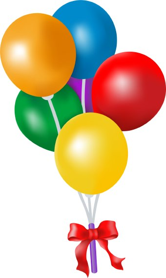 Clip art of a bouquet of colorful balloons for a birthday party or ...