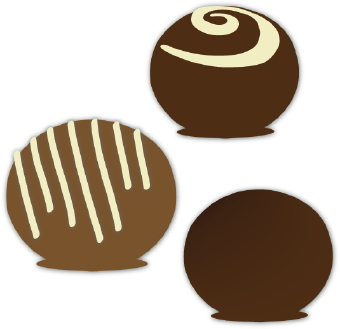 Clip art of a three chocolate bon bons with white frosting.