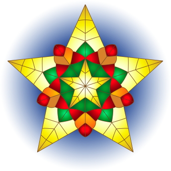 Clip art of a Christmas star with yellow, green and red stained glass ...
