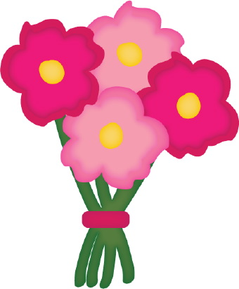 Clip art of a color bouquet of pink and red flowers with yellow ...