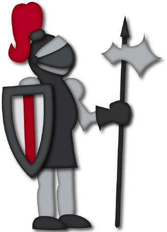 Clip art of a knight Templar in gray armor with a shield, spear and ...