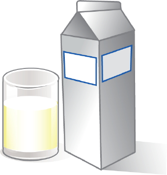 Clip art of a milk carton and a glass of milk.