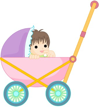 Baby in Carriage clip art