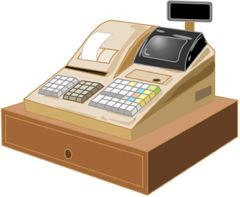 Clip art of a computerized cash register