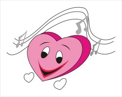 Pink Musical Heart clip art