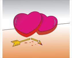 Red Heart and Arrow clip art