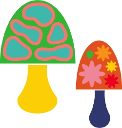 Colorful Mushrooms clip art