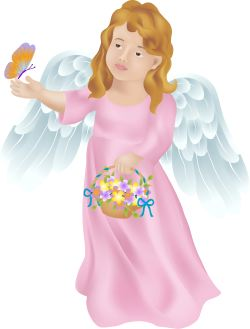 Angel with Butterfly clip art