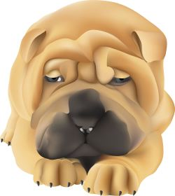 Napping Shar Pei Dog clip art
