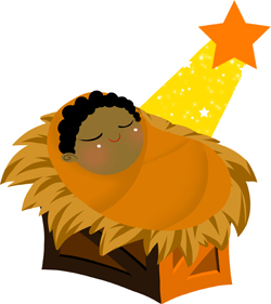 Baby Jesus with Orange Star clip art
