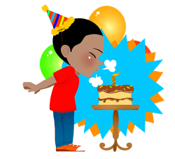 Birthday Boy with Cake and Candle clip art