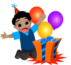 Birthday Boy with Gift and Balloons clip art