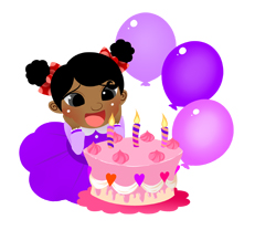 Birthday Girl with Cake and Candles clip art