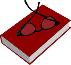 Red Book with Glasses clip art