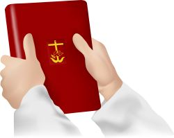 Red Book with Gold Cross clip art