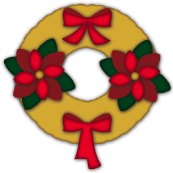 Christmas Wreath Poinsettias clip art