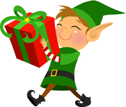 Elf with Gift clip art