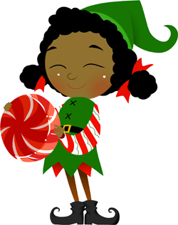 Elf with Round Candy clip art