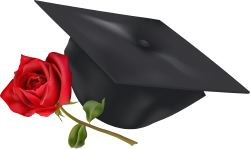 Graduation Mortarboard with Rose clip art