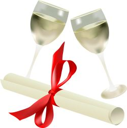 Wine and Diploma clip art
