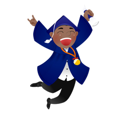 Graduation Boy Leaping clip art