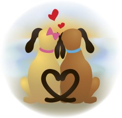 Dogs and Hearts clip art