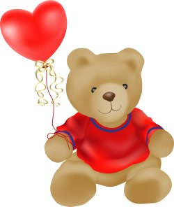 Teddy Bear with Heart-Shaped Balloon clip art