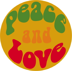 Peace And Love Button clip art