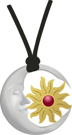 Sun and Moon Pendant clip art