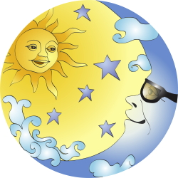 Sun And Moon With Glasses clip art