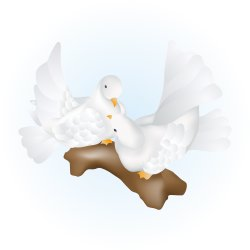 Two White Doves clip art