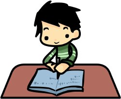 Boy Doing Homework clip art